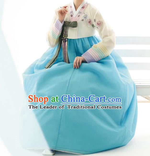 Traditional Korean Costumes Bride Wedding Blue Dress, Korea Hanbok Queen Court Embroidered Clothing for Women