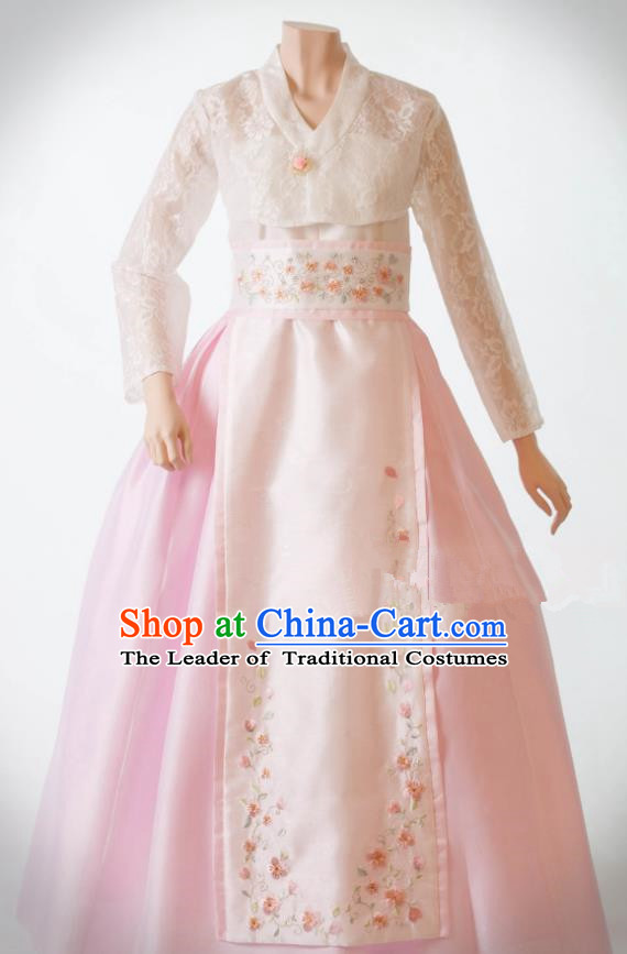 Traditional Korean Costumes Bride Wedding White Lace Dress, Korea Hanbok Queen Court Embroidered Clothing for Women
