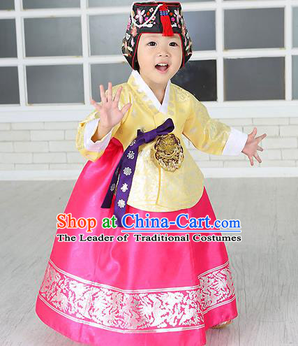 Traditional Korean Handmade Formal Occasions Costume Embroidered Baby Brithday Girls Yellow Blouse and Pink Dress Hanbok Clothing