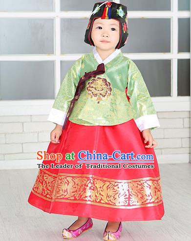 Traditional Korean Handmade Formal Occasions Costume Embroidered Baby Brithday Girls Green Blouse and Red Dress Hanbok Clothing