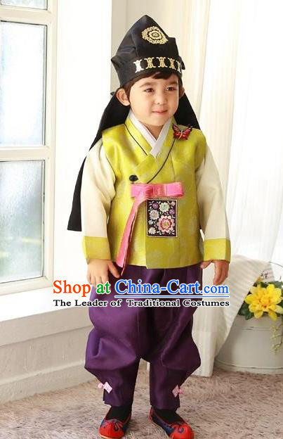 Traditional Korean Handmade Formal Occasions Costume Embroidered Baby Prince Hanbok Clothing for Boys