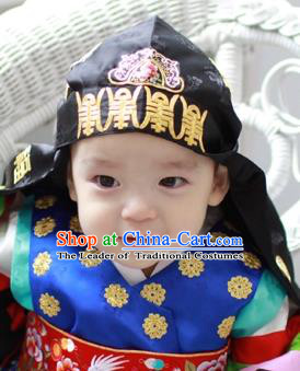 Traditional Korean Hair Accessories Black Embroidered Hats, Asian Korean Fashion Headwear for Boys