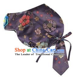 Traditional Korean Hair Accessories Bride Navy Brocade Hats, Asian Korean Fashion Wedding Headwear for Kids