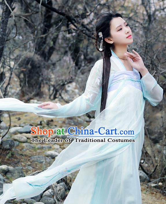 Asian China Tang Dynasty Young Lady Fairy Costume, Chinese Ancient Princess Embroidered Clothing for Women