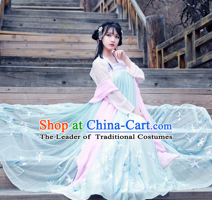 Asian China Tang Dynasty Palace Princess Fairy Costume, Chinese Ancient Nobility Lady Embroidered Clothing for Women