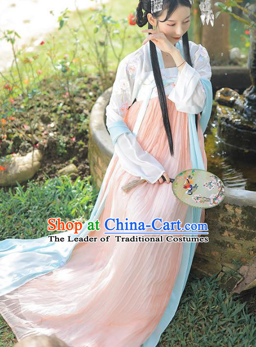 Asian China Tang Dynasty Palace Lady Costume, Chinese Ancient Princess Embroidered Clothing for Women