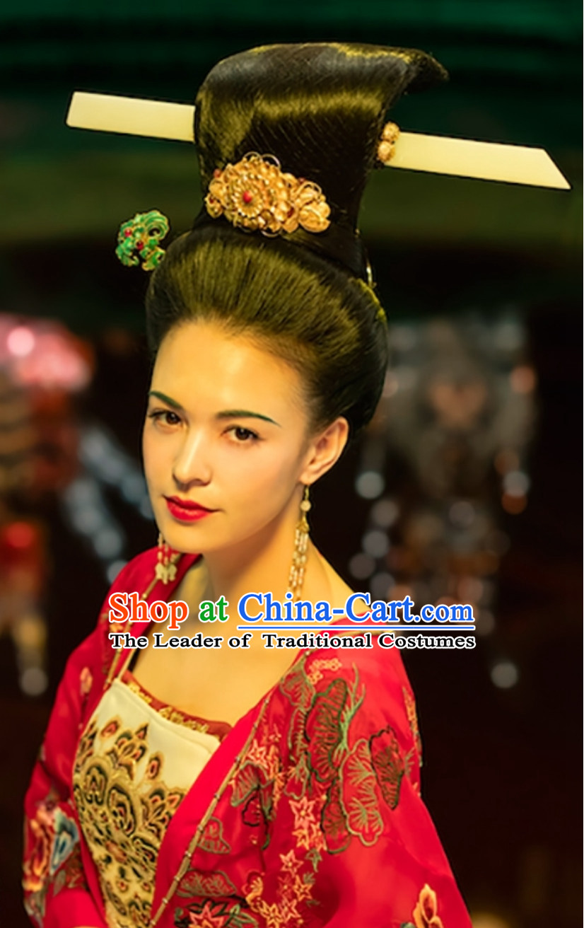 Ancient China Tang Dynasty Beauty Black Wig and Hair Jewelry