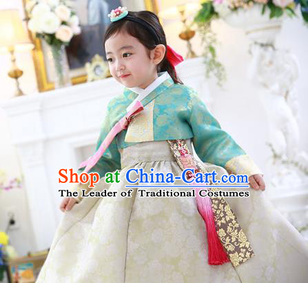 Asian Korean Traditional Handmade Formal Occasions Costume Princess Green Embroidered Blouse and White Dress Hanbok Clothing for Girls
