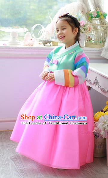 Asian Korean Traditional Handmade Formal Occasions Costume Princess Green Embroidered Blouse and Pink Dress Hanbok Clothing for Girls