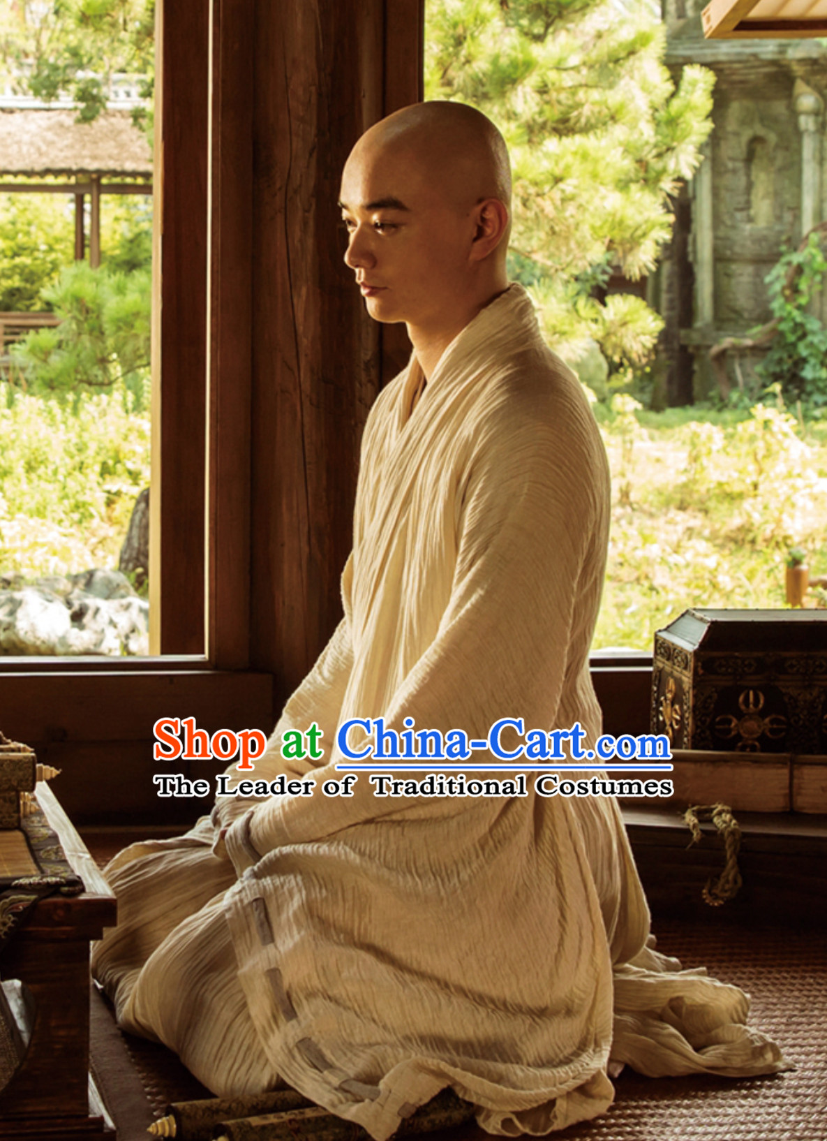 Ancient Chinese Tang Monk Long Robes Clothing Complete Set for Men