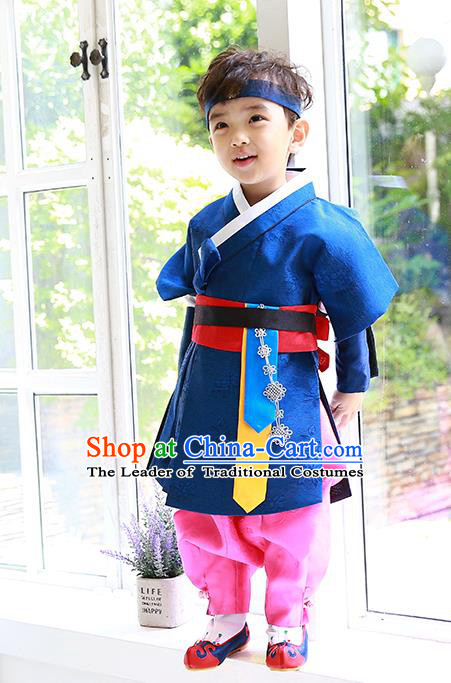 Asian Korean Traditional Handmade Formal Occasions Costume Palace Prince Embroidered Blue Hanbok Clothing for Boys