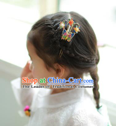 Traditional Korean Hair Accessories Girls Butterfly Hairpins, Asian Korean Fashion Headwear Hair Stick for Kids