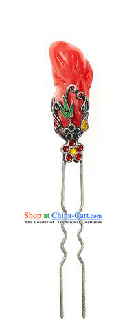 Traditional Korean Hair Accessories Girls Red Hairpins, Asian Korean Fashion Headwear Hair Stick for Kids