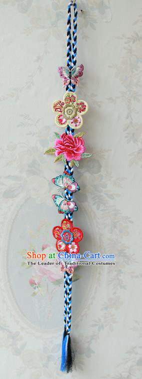 Traditional Korean Accessories Embroidered Butterfly Flowers Waist Pendant, Asian Korean Fashion Wedding Tassel Waist Decorations for Women