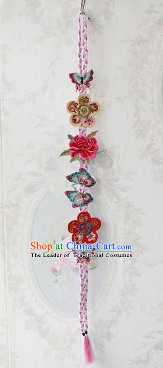 Traditional Korean Accessories Embroidered Butterfly Red Flowers Waist Pendant, Asian Korean Fashion Wedding Tassel Waist Decorations for Women