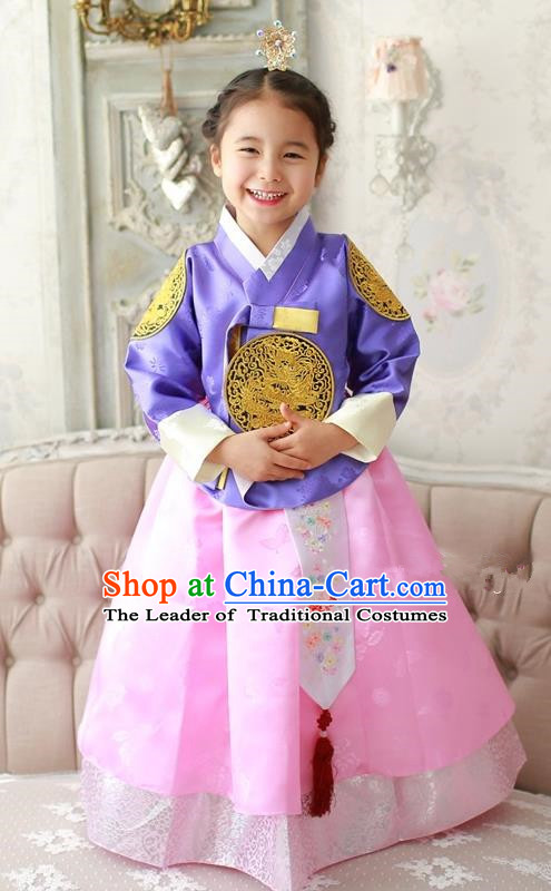 Asian Korean Traditional Handmade Formal Occasions Costume Palace Princess Embroidered Purple Blouse and Pink Dress Hanbok Clothing for Girls