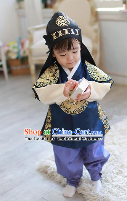 Asian Korean Traditional Handmade Formal Occasions Boys Navy Embroidered Costume Hanbok Clothing for Boys