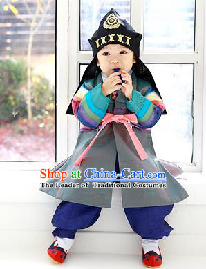 Asian Korean Traditional Handmade Formal Occasions Boys Embroidered Grey Costume Hanbok Clothing for Boys