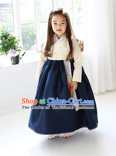 Asian Korean Traditional Handmade Formal Occasions Girls Embroidered White Blouse and Navy Dress Costume Hanbok Clothing for Kids