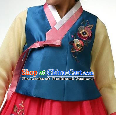 Asian Korean Traditional Handmade Formal Occasions Girls Costume Embroidered Blue Vests Hanbok Clothing for Kids