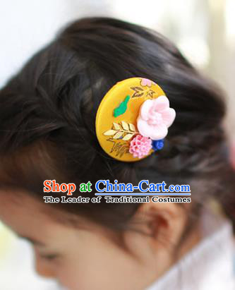 Traditional Korean National Hair Accessories Yellow Hairpins, Asian Korean Fashion Hanbok Hair Decorations Headwear for Kids