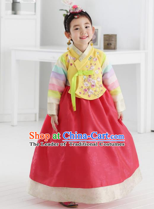 Asian Korean National Traditional Handmade Formal Occasions Girls Embroidered Yellow Blouse and Red Dress Costume Hanbok Clothing for Kids