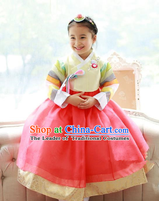 Asian Korean National Traditional Handmade Formal Occasions Girls Embroidered Yellow Blouse and Orange Dress Costume Hanbok Clothing for Kids