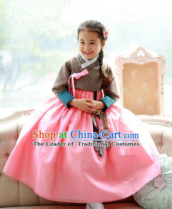 Asian Korean National Traditional Handmade Formal Occasions Girls Embroidered Grey Blouse and Pink Dress Costume Hanbok Clothing for Kids