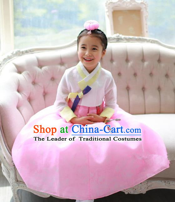 Asian Korean National Traditional Handmade Formal Occasions Girls Embroidered White Blouse and Pink Dress Costume Hanbok Clothing for Kids