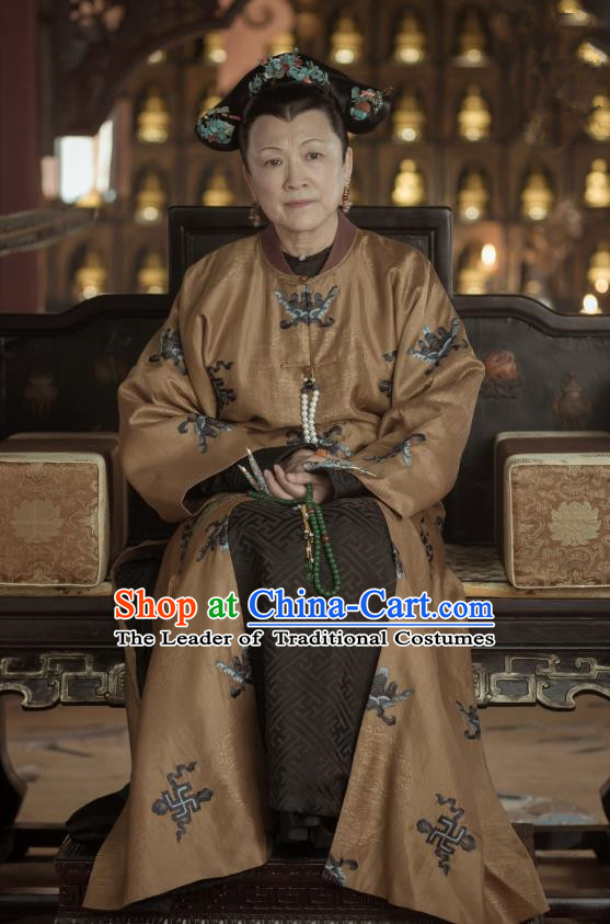 Traditional Ancient Chinese Queen Mother Costume, Chinese Qing Dynasty Manchu Imperial Empress Dowager Embroidered Clothing for Women