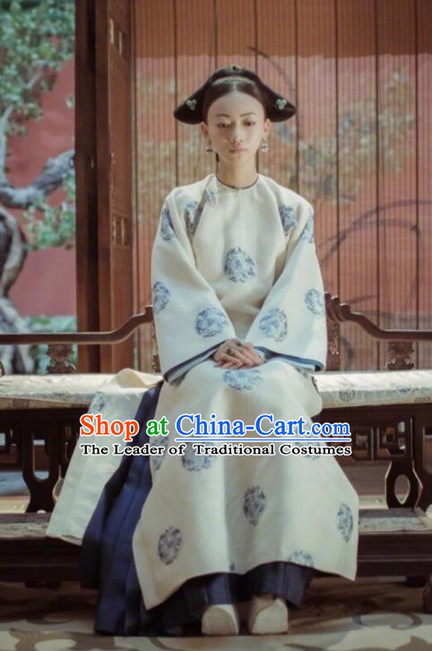 Traditional Ancient Chinese Qing Dynasty Palace Lady Costume, Chinese Manchu Lady Imperial Consort Clothing for Women