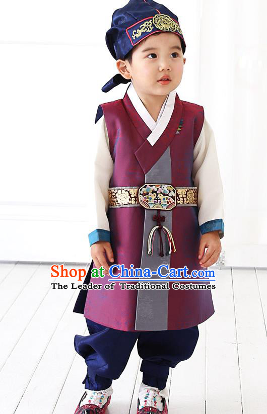 Asian Korean National Traditional Handmade Formal Occasions Boys Embroidery Amaranth Hanbok Costume Complete Set for Kids