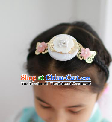 Traditional Korean National Hair Accessories Shell Flowers Hair Clasp, Asian Korean Fashion Hanbok Headband for Girls