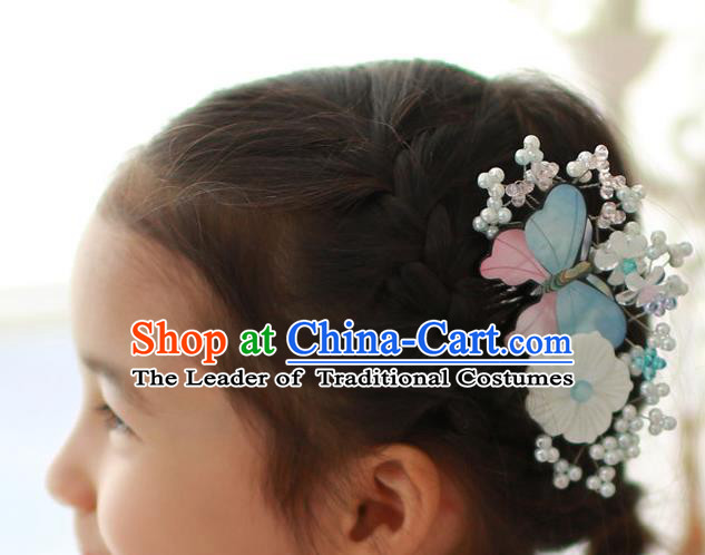 Traditional Korean Hair Accessories Butterfly Hair Comb, Asian Korean Hanbok Fashion Headwear Hair Stick for Kids
