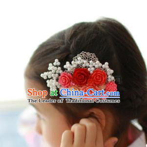 Traditional Korean Hair Accessories Red Flowers Hair Claw, Asian Korean Hanbok Fashion Headwear Hair Stick for Kids