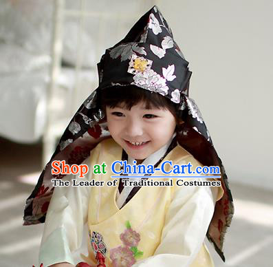 Traditional Korean Hair Accessories Prince Embroidered Black Hats, Asian Korean Fashion Headwear for Boys