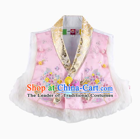 Korean National Traditional Handmade Wedding Hanbok Costume Embroidery Pink Vests for Kids