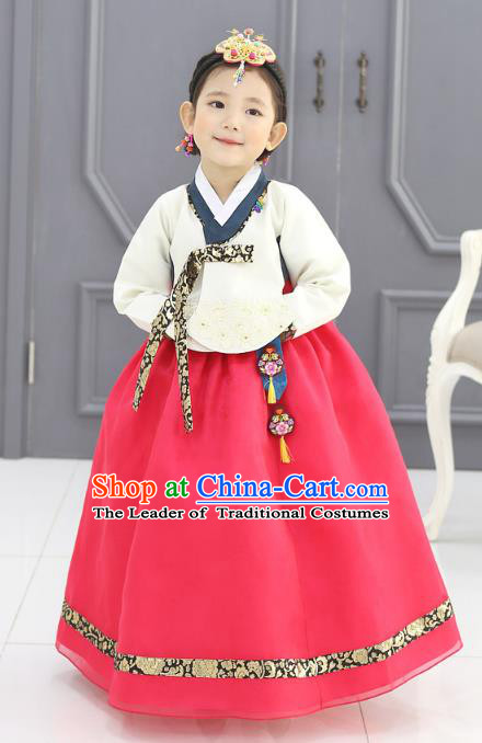 Traditional Korean National Handmade Formal Occasions Girls Embroidery Hanbok Costume White Blouse and Pink Dress Complete Set for Kids