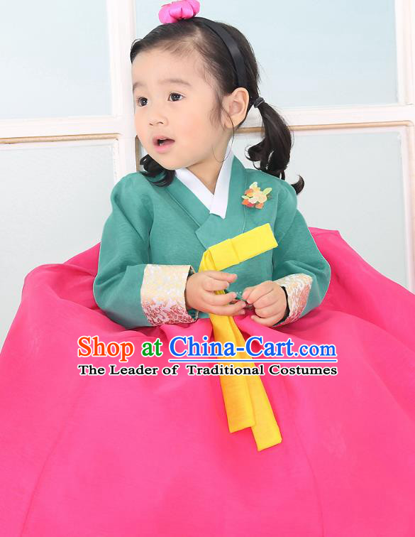 Traditional Korean National Handmade Formal Occasions Embroidered Green Blouse and Rosy Dress Girls Palace Hanbok Costume for Kids