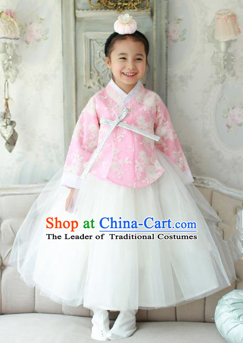 Korean National Handmade Formal Occasions Embroidered Pink Blouse and White Dress, Asian Korean Girls Palace Hanbok Costume for Kids