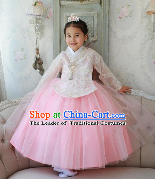 Korean National Handmade Formal Occasions Embroidered White Lace Blouse and Pink Dress, Asian Korean Girls Palace Hanbok Costume for Kids