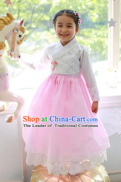 Korean National Handmade Formal Occasions Embroidered White Blouse and Pink Lace Dress, Asian Korean Girls Palace Hanbok Costume for Kids
