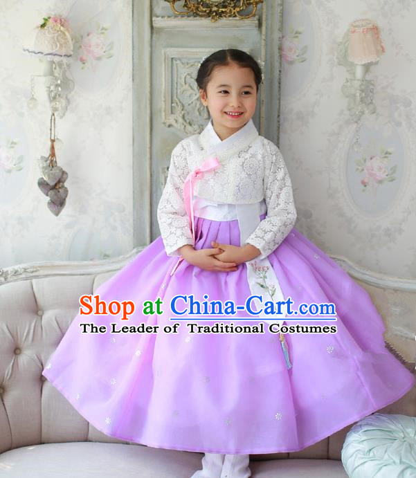 Korean National Handmade Formal Occasions Embroidered White Lace Blouse and Purple Veil Dress, Asian Korean Girls Palace Hanbok Costume for Kids
