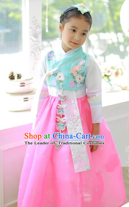 Korean National Handmade Formal Occasions Embroidered Blue Blouse and Pink Dress Hanbok Costume for Kids