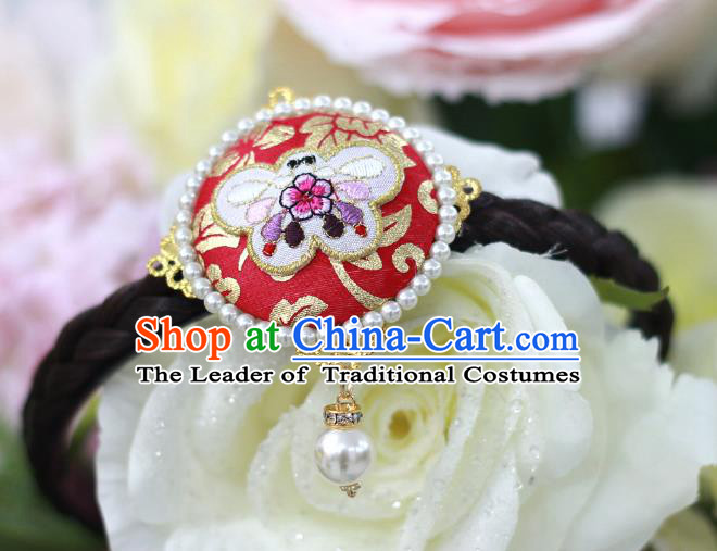 Traditional Korean Hair Accessories Embroidered Butterfly Red Hair