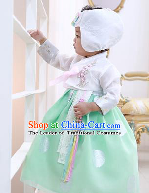Asian Korean National Handmade Formal Occasions Embroidered White Blouse and Green Dress Hanbok Costume for Kids
