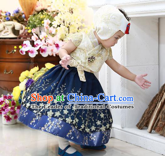 Asian Korean National Handmade Formal Occasions Embroidered Yellow Blouse and Blue Dress Hanbok Costume for Kids