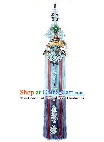 Traditional Korean Accessories Bride Chinese Knots Waist Pendant Embroidered Palace Taeniasis, Asian Korean Wedding Hanbok Blue Tassel Waist Decorations for Women