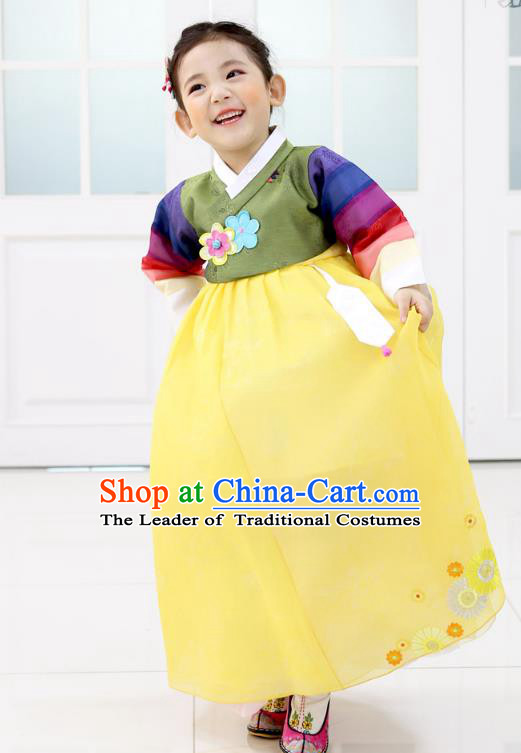 Korean National Handmade Formal Occasions Embroidered Green Blouse and Yellow Dress, Asian Korean Girls Palace Hanbok Costume for Kids