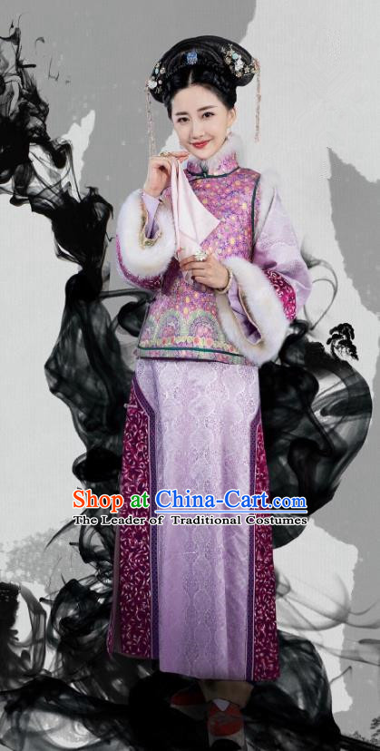 Traditional Chinese Qing Dynasty Imperial Consort Costume, China Ancient Manchu Lady Mandarin Embroidered Clothing for Women